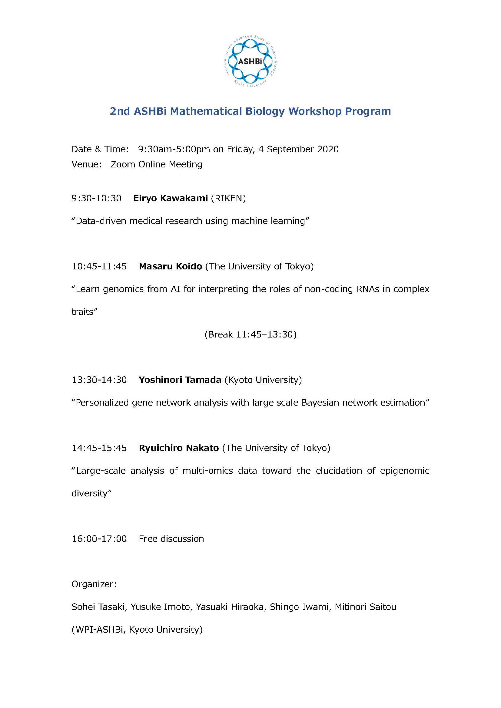 Program of 2nd ASHBi Mathematical Biology Workshop